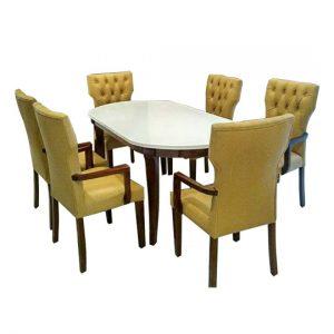 Meja Makan Oval Marmer 8 Kursi Sofa