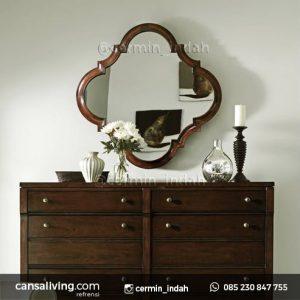 Cermin Meja Elegant Kayu Jati Ruang Tamu