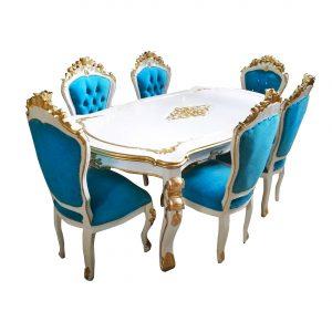 Meja Makan Modern Mewah Blue