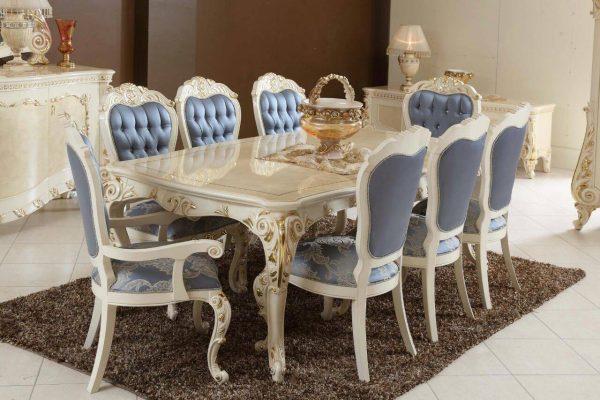 Meja Makan 8 Kursi Mewah Putih