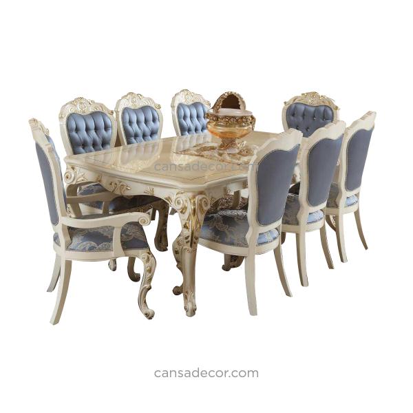 Meja Makan 8 Kursi Mewah Putih Jati