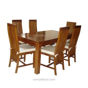 Meja Makan 6 Orang Segi Empat Jati