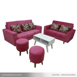 set sofa ruang tamu retro minimalis pink murah - toko