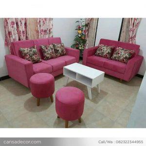 Set Sofa Ruang Tamu Retro Minimalis Pink Murah