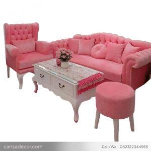 Sofa Set Ruang Tamu Minimalis Hello Kitty Pink
