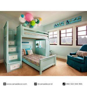 jual Tempat-tidur-anak-tingkat-biru-shabby-chic