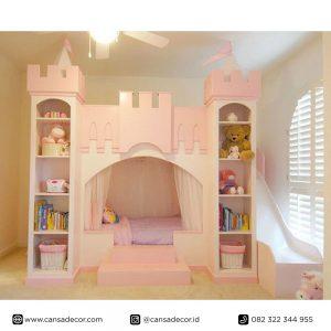Jual Tempat-tidur-anak-tingkat-istana-Princess-Pink