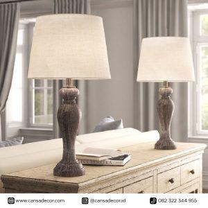 Lampu Meja Kayu Joie 82 cm Set Grey Jual