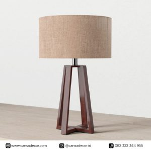 Lampu Meja Kayu Noura 58 cm Walnut harga