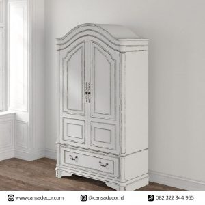 Lemari Pakaian Antik Prancis Almira Putih Vintage