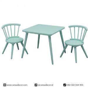 Set meja belajar Anak TK minimalis scandinavian satu