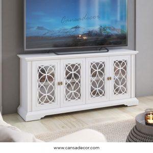 jual-tv-cabinet-bufet-pintu-4-kaca-minimalis-Putih-bandung