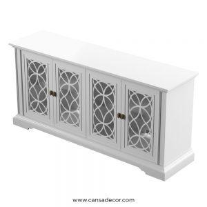 jual-tv-cabinet-bufet-pintu-4-kaca-minimalis-Putih-Kayu-jati